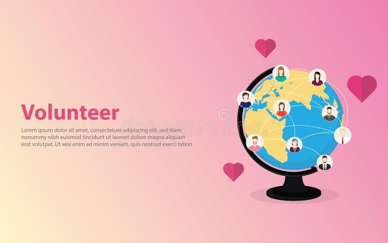 Concept volontaire avec l'icône heureuse de personnes autour du monde sur la carte du monde de globe - vecteur illustration de vecteur