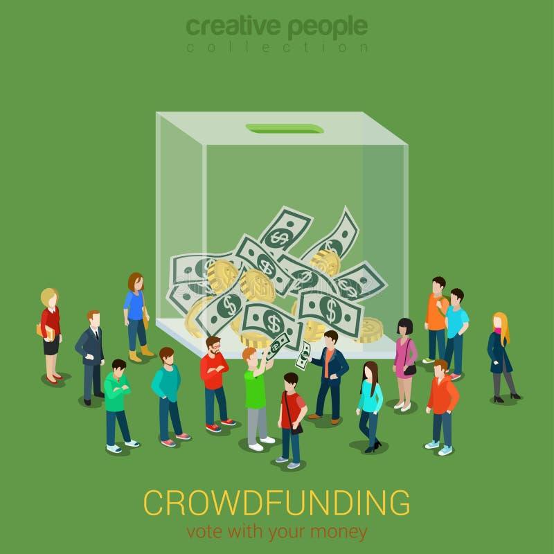 Concept volontaire crowdfunding 3d plat d'idée d'affaires isométrique illustration de vecteur