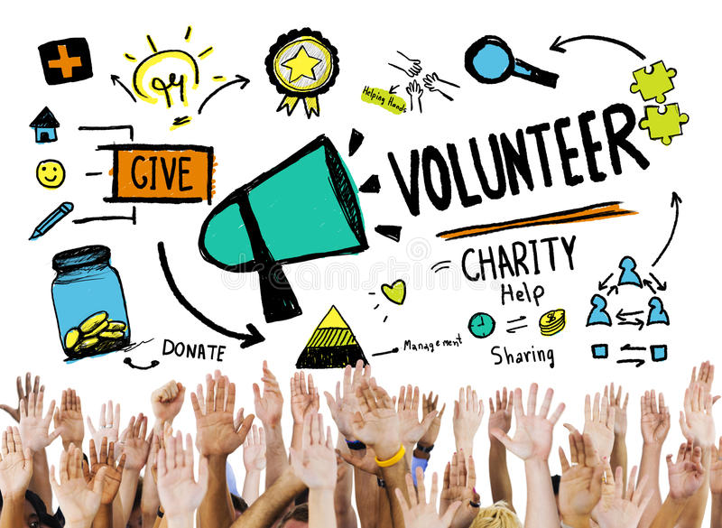 Concept volontaire d'aide de donation de travail de charité et de soulagement illustration libre de droits