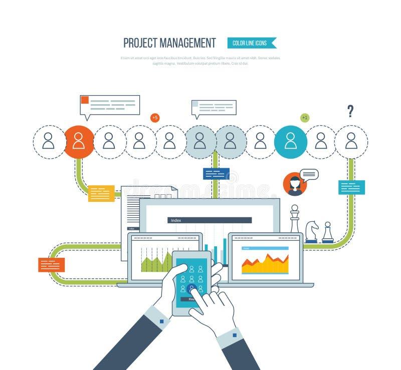 Concept voor bedrijfsanalyse, het raadplegen, strategie planning, projectleiding royalty-vrije illustratie