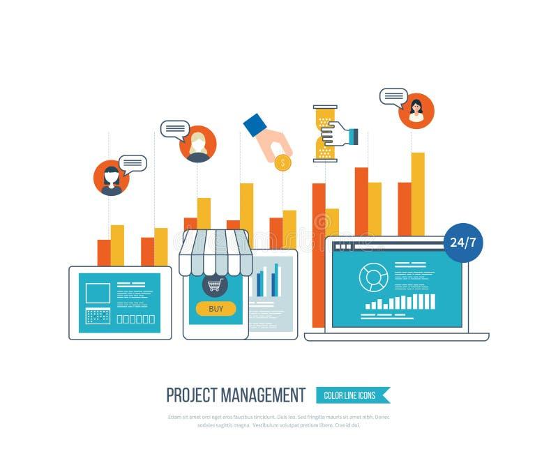 Concept voor bedrijfsanalyse, investering, het raadplegen, strategie planning, projectleiding vector illustratie