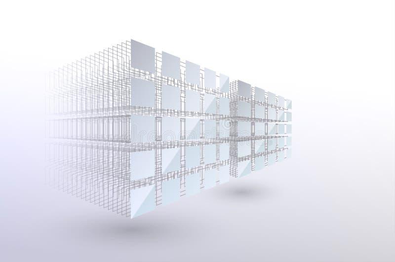 Concept voor blokkeringsketens Grote gegevens Gegevenssortering Van chaos naar systeem Kunstmatige intelligentie Machine learning stock illustratie