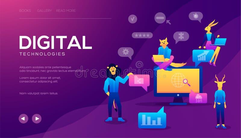 Concept voor Digitaal op de markt brengend agentschap, digitale media campagne vector illustratie