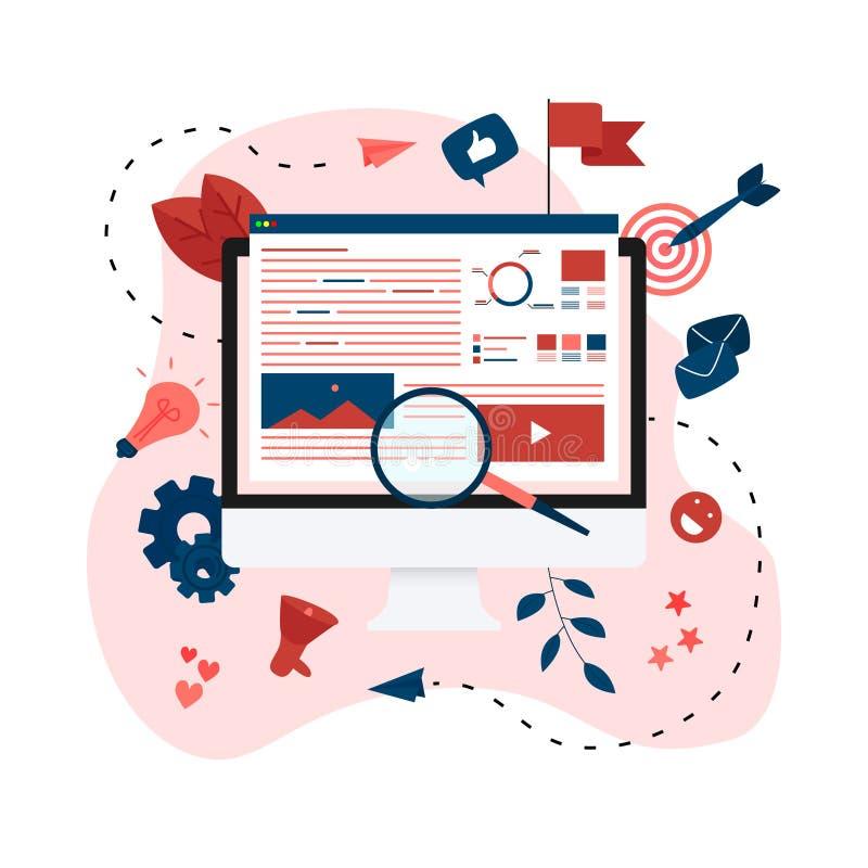 Concept voor Digitaal op de markt brengend agentschap, digitale media campagne vlakke vectorillustratie stock illustratie