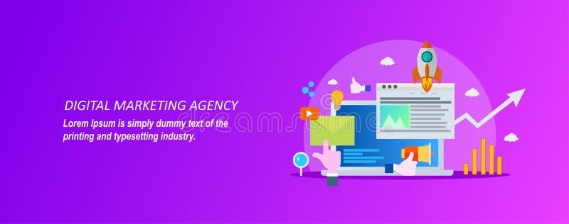 Concept voor digitaal op de markt brengend agentschap op een violette achtergrond stock illustratie
