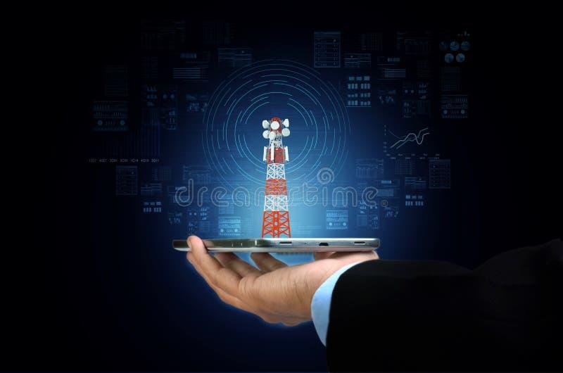 Concept voor draadloze breedbandverbinding via internet stock foto