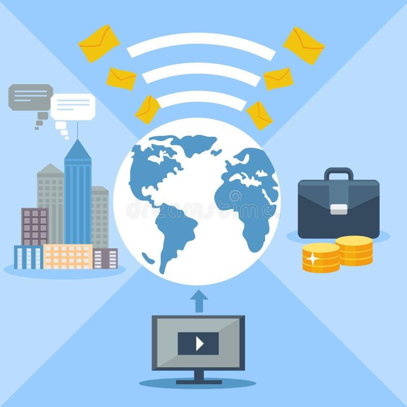Concept voor e-mail marketing, globale mededeling royalty-vrije illustratie