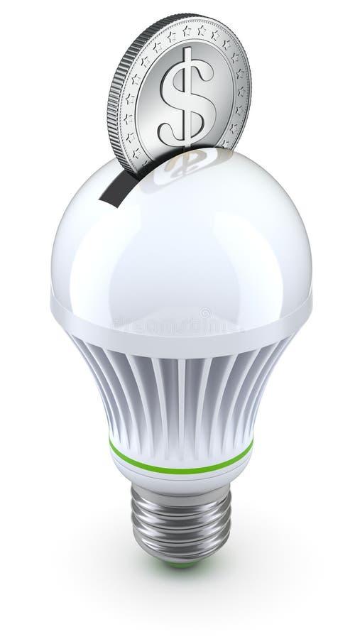 Concept voor energie - besparing met geleid bol en muntstuk royalty-vrije illustratie