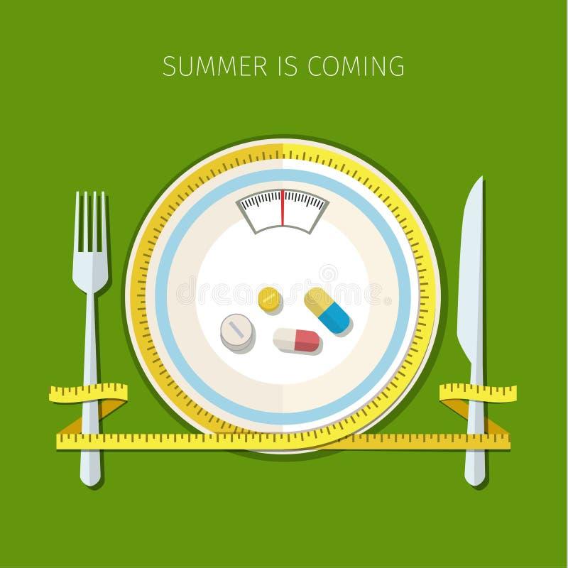 Concept voor het op dieet zijn vector illustratie