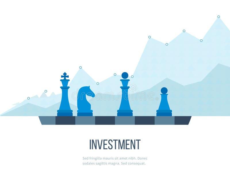Concept voor investering, financieel srategy, beleggend, strategisch beheer Investeringszaken vector illustratie