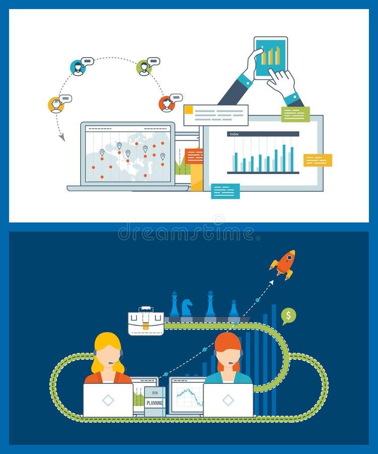 Concept voor investering, strategie planning, projectleiding, financieel verslag, onderwijs stock illustratie