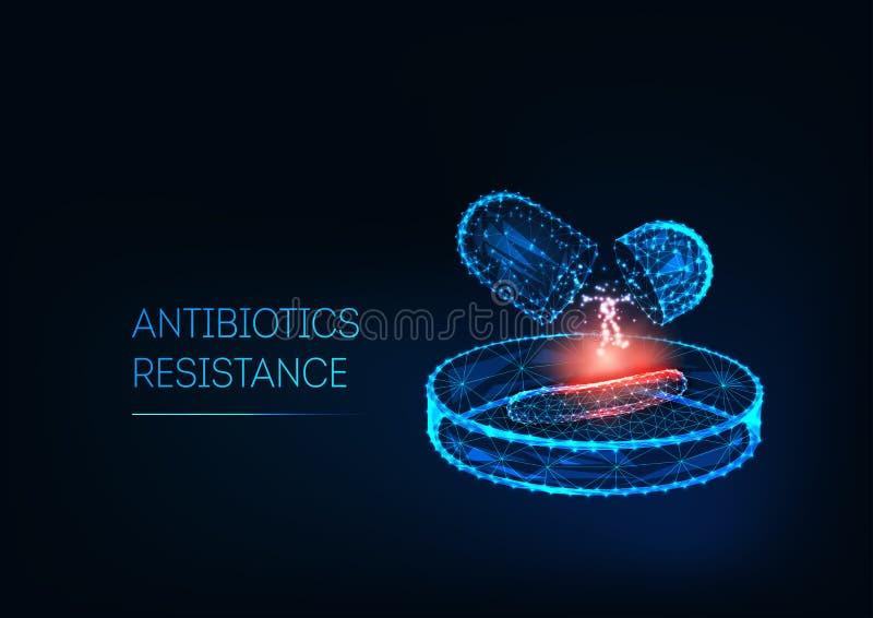 Concept voor resistentie tegen antibiotica Futuristische, lage polygonale antibioticaresistaties, bacteriën op petrischaaltje vector illustratie