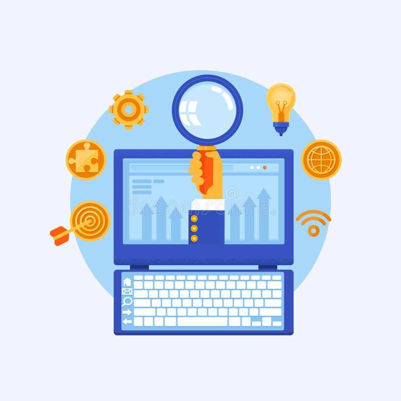 Concept voor SEO-inhoud marketing, de vlakke vector van de onderzoeksoptimalisering vector illustratie