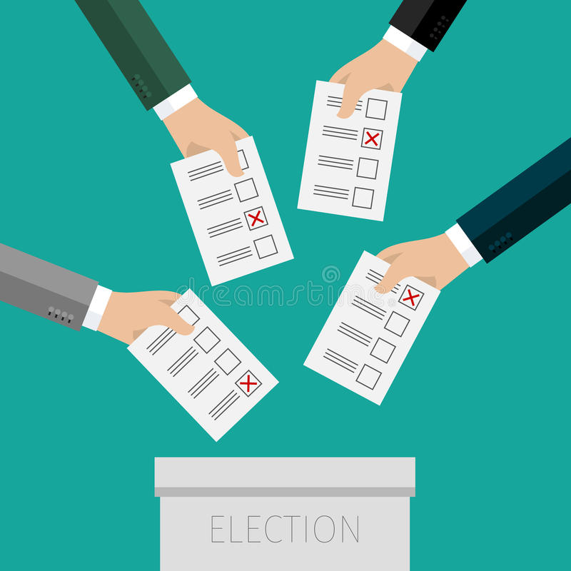 Concept of voting. Hands putting voting paper in the ballot box. Flat design, vector illustration stock illustration
