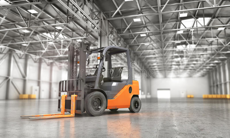 Concept of warehouse. The forklift in the empty big warehouse on blurred background. 3d illustration vector illustration