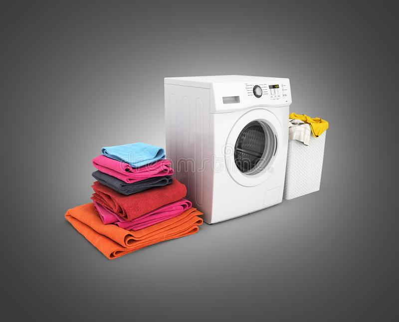 Concept of washing clothes Washing machine with colored towels and washing basket with dirty clothes isolated on black gradient. Background royalty free illustration