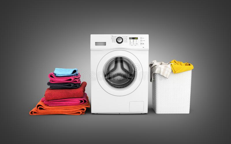 Concept of washing clothes Washing machine with colored towels and washing basket with dirty clothes isolated on black gradient. Background 3d render royalty free illustration