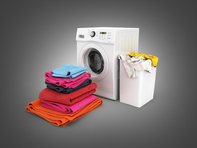 Concept of washing clothes Washing machine with colored towels and washing basket with dirty clothes isolated on black gradient. Background 3d render stock illustration