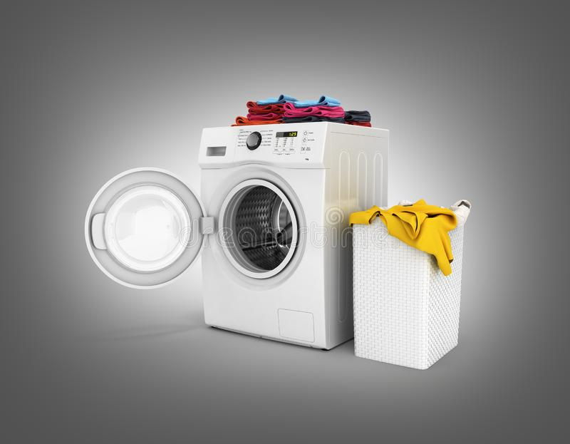 Concept of washing clothes Washing machine with colored towels and washing basket with dirty clothes isolated on black gradient. Background 3d render vector illustration