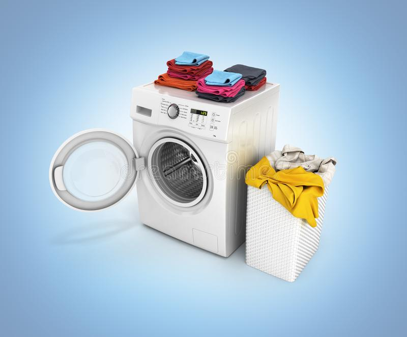 Concept of washing clothes Washing machine with an open door colored towels and washing basket with dirty clothes  on blue. Gradient background 3d render vector illustration