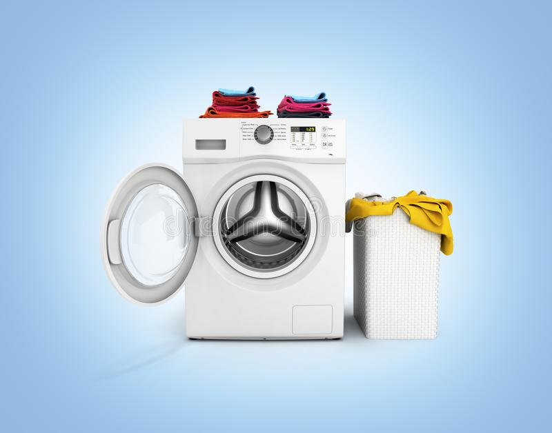 Concept of washing clothes Washing machine with an open door colored towels and washing basket with dirty clothes isolated on blue. Gradient background 3d vector illustration