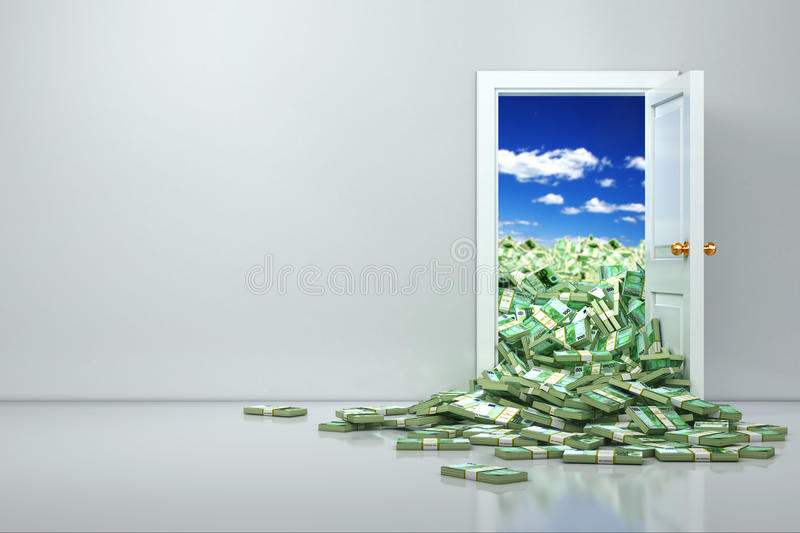 Concept of wealth. Opening euro and heap dollar. 3d stock illustration