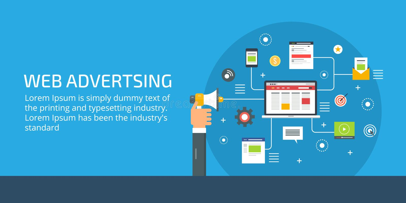 Web advertising, businessman holding megaphone, online marketing and digital promotion concept. Flat design vector illustration. vector illustration