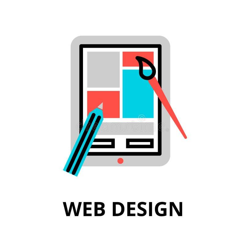 Concept of web design icon. Modern flat editable line design vector illustration, concept of web design icon, for graphic and web design vector illustration