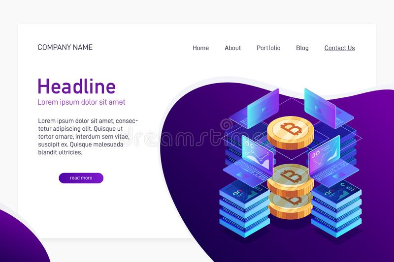 Concept of web site main page with isometry. stock illustration