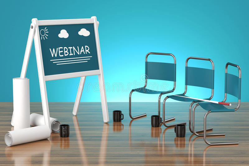 Concept webinar. Concept board with the word webinar and chairs will on a wooden plane with a blue background and lighting royalty free illustration