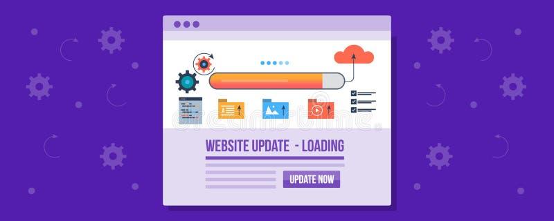 Website loading speed check - testing website performance on web, website management concept. Flat design vector banner. Concept of website management, loading royalty free illustration