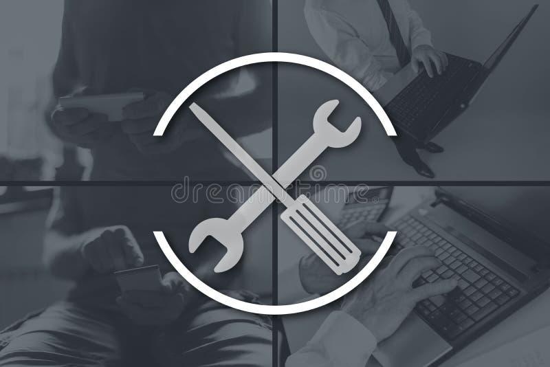 Concept websiteonderhoud stock afbeelding