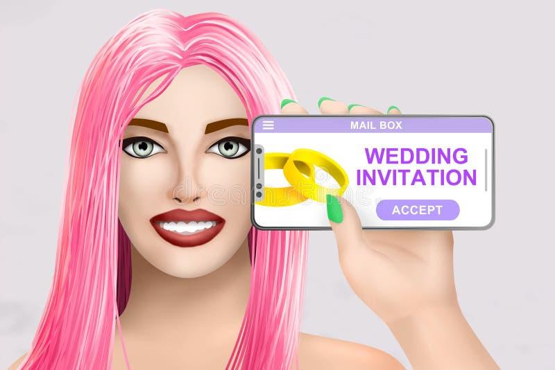 Concept wedding invitation got online. Drawn pretty girl on bright background. Illustration royalty free illustration
