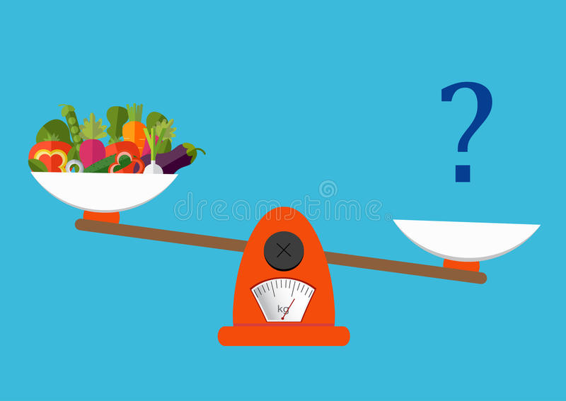 Concept of weight loss, healthy lifestyles, diet, proper nutrition. Vegetables and fast food on scales. Vector. stock illustration