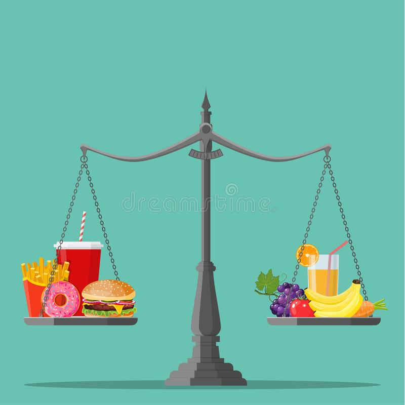Concept of weight loss,. Healthy lifestyles, diet, proper nutrition. Vegetables and fast food on scales. Vector illustration in flat style stock illustration