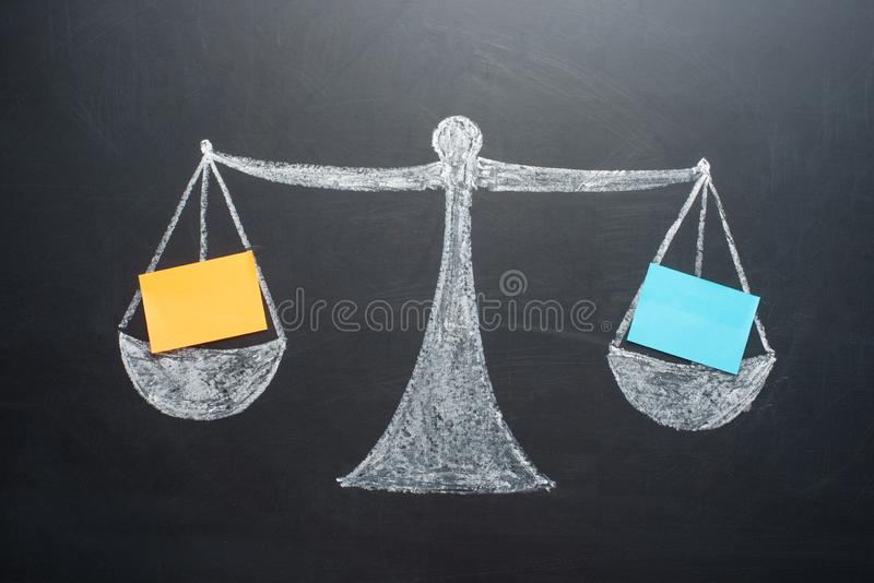 The concept of weights with blank sheets of the balance sheet royalty free stock photos
