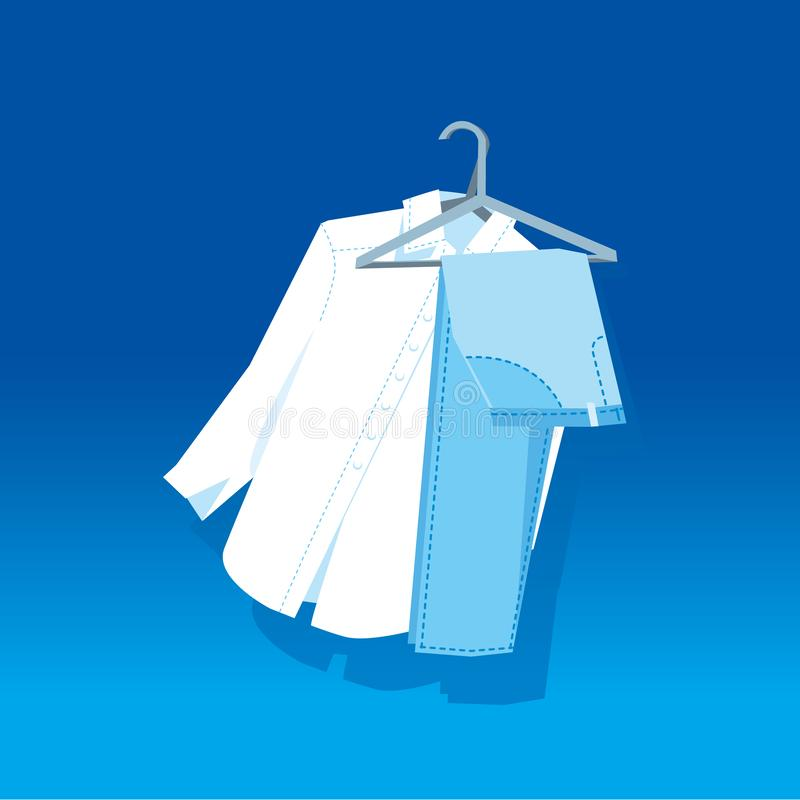 Concept white pants and blue shirt on hangers. Simple laconic stock vector illustration stock illustration