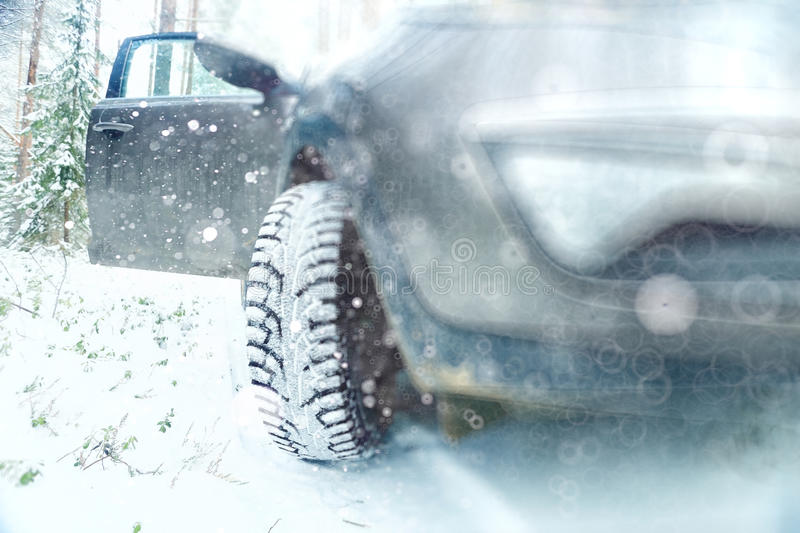 Concept of winter car ride stock photos