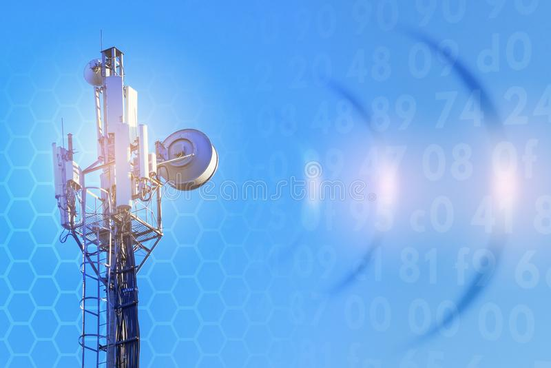 Concept of wireless radio Internet. 5G. 4G, 3G mobile technologies. royalty free stock photo
