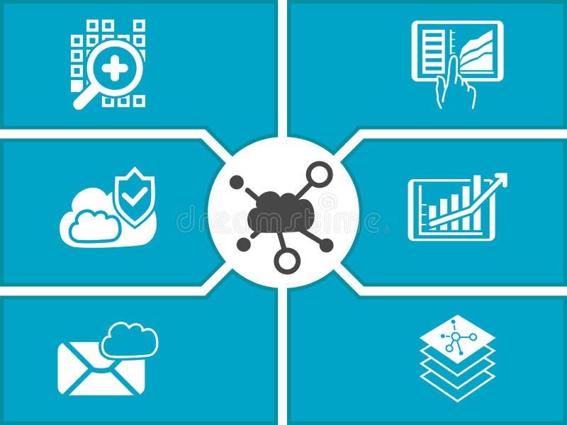 Concept wolk gegevensverwerkingsdashboard voor mobiele apparaten stock illustratie
