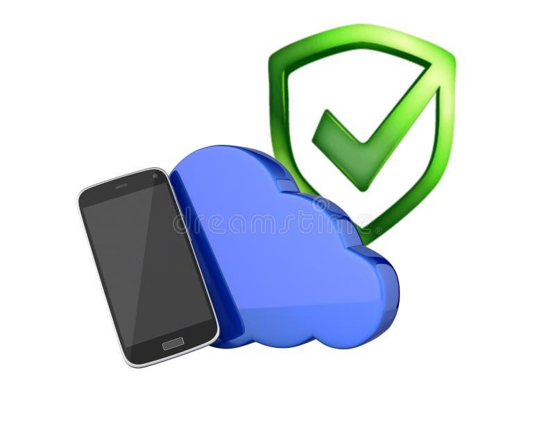 Concept wolkenopslag Smartphone met wolk en met het conceptenopslag app van de schildbescherming op witte 3d withput als achtergr royalty-vrije illustratie