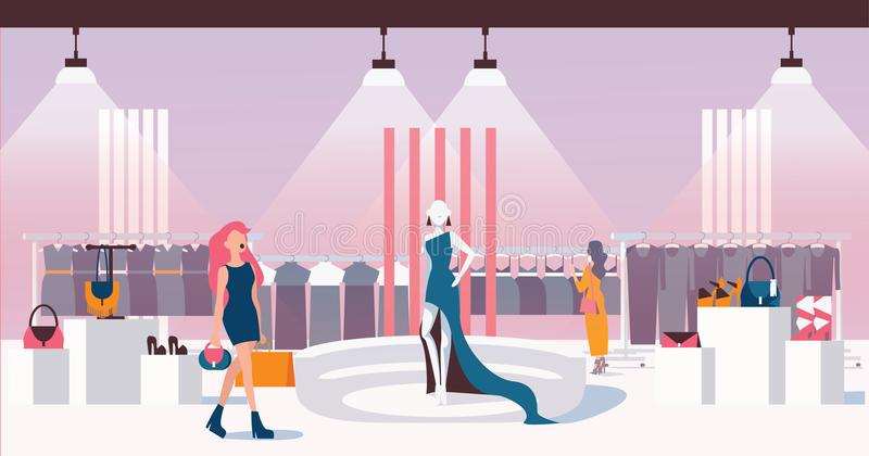 Concept of woman ready to wear shop. Flat vector illustration with girls choosing dress. Interior of shop with buyers and beautifu vector illustration