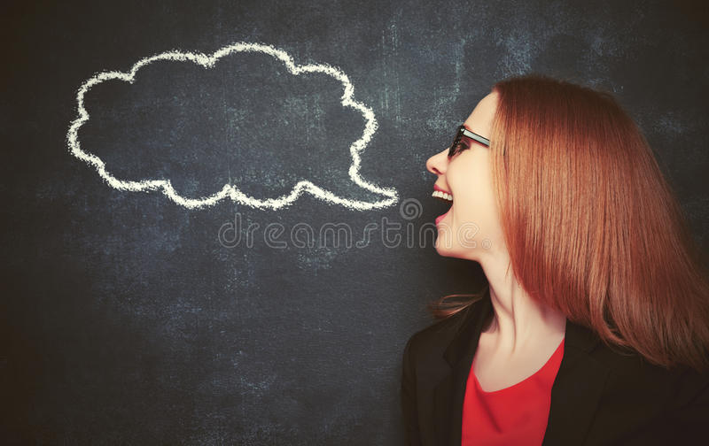 Concept woman said at blank blackboard with chalk painted icon. Concept woman said at a blank blackboard with chalk painted icon stock photography