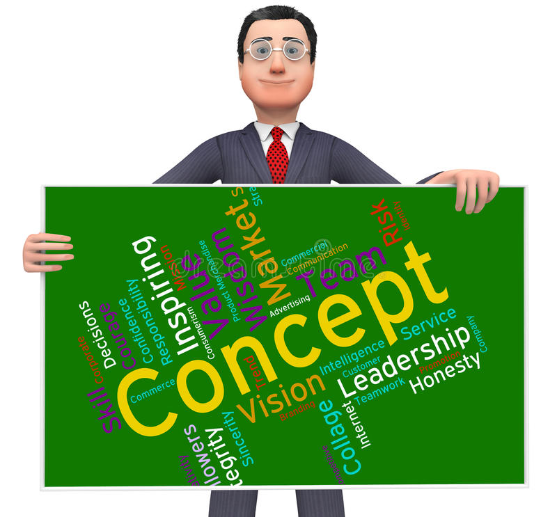 Concept Word Means Abstraction Thinking And Invention. Concept Word Showing Conceptualization Notion And Hypothesis stock illustration