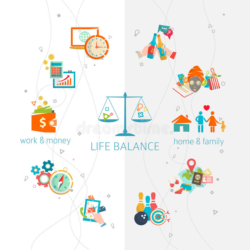 Concept of work and life balance vector illustration