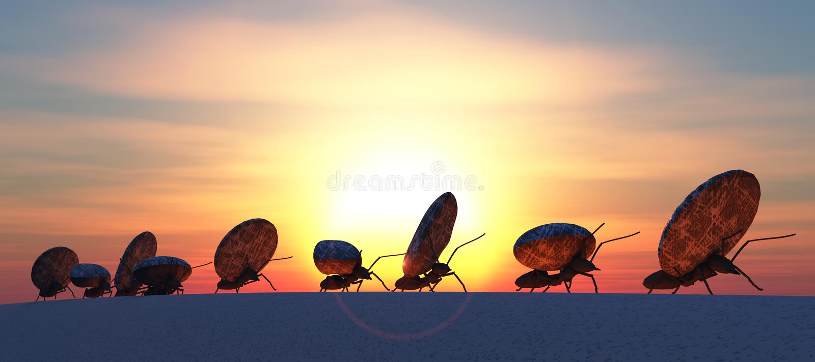 Concept work, team of ants. Moving stones royalty free stock images