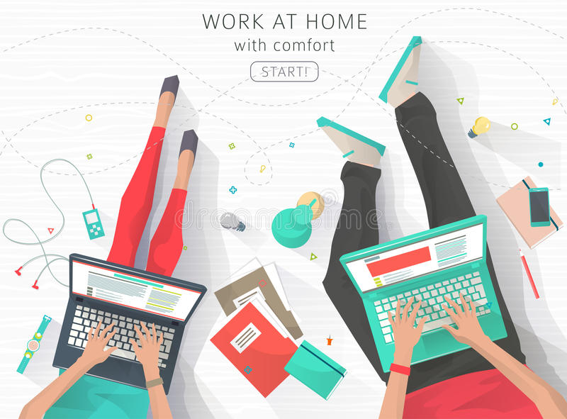 Concept of working at the home. Concept of working at home. Relaxation. Work wherever you want with pleasure. Creating ideas. E-learning. Freelance. Flat vector royalty free illustration