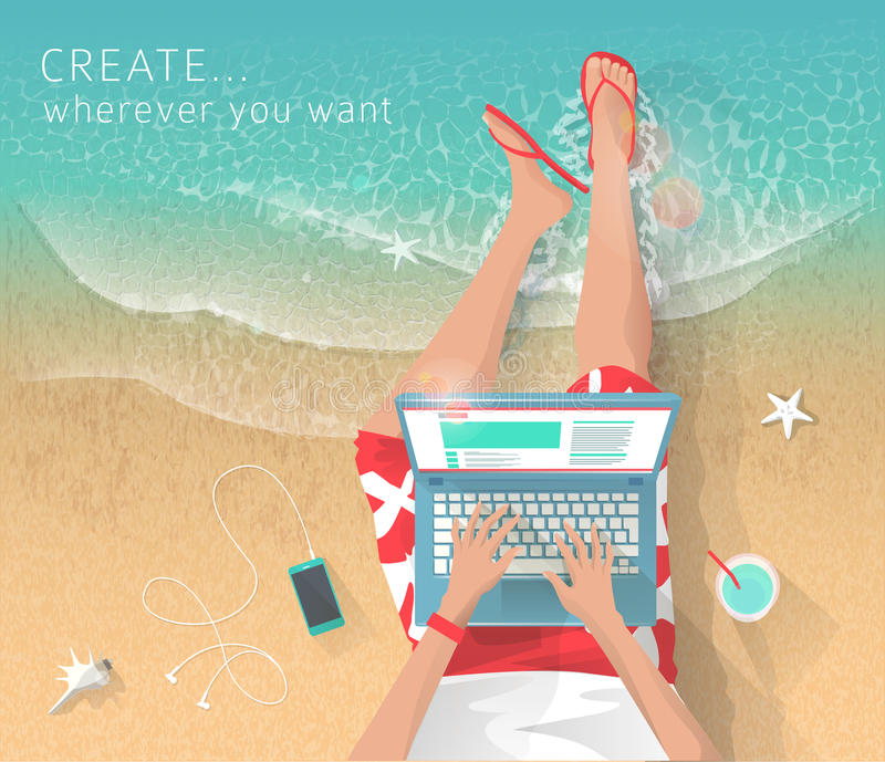 Concept of working at the sea. Relaxation. Work wherever you want with pleasure. Creating ideas. Freelance stock illustration