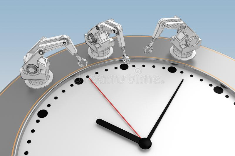 Concept of working time hands of robots royalty free illustration