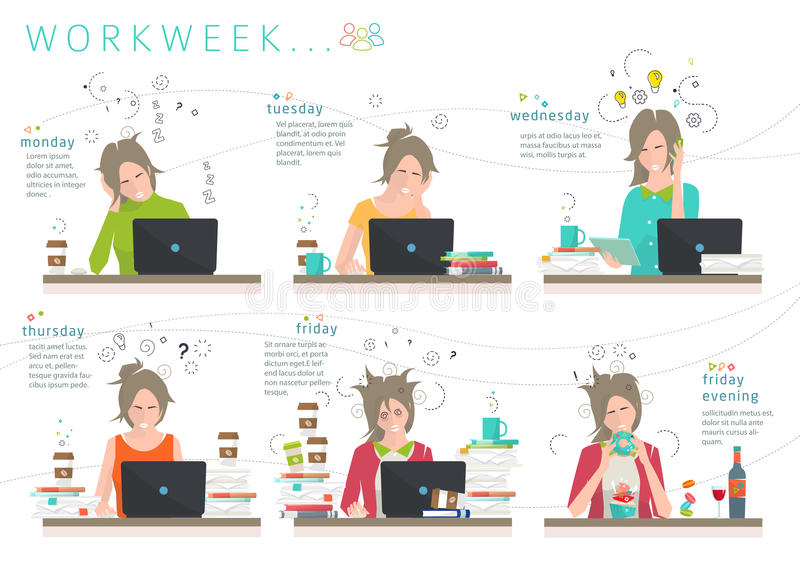 Concept of workweek of office employee stock illustration